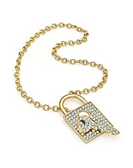 Shiny Gold Effect Lock and Key Necklace
