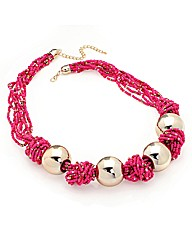 Gold Effect Pink Ball Necklace