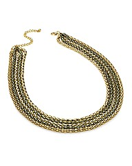 Gold Effect Five Row Mesh Chain Necklace