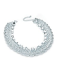 Silver Effect Three Row Chain Necklace