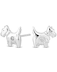 Simply Silver Scotty Dog Stud Earring