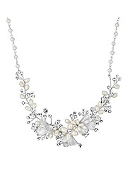 Alan Hannah Pearl Crystal Leaf Necklace