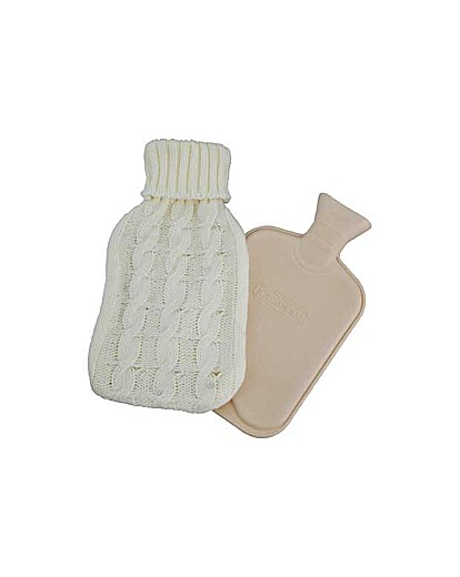 Image of Hot Water Bottle with Chunky Knit Cover.