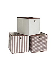 Set of 3 Non Woven Storage Boxes-Natural