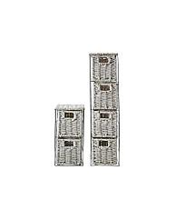 2 Piece White Storage Tower