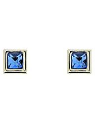Blue Crystal Square Stud Earrings