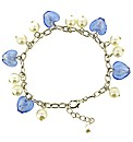 Blue Murano Glass Heart Charm Bracelet