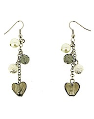 Murano Glass Heart Dropper Earrings