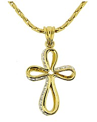 Gold Plated Crystal Cross Pendant
