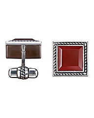 Sterling Silver and Cornelian Cufflinks