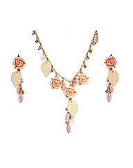 Gold Plated Floral Bead Pendant  Set