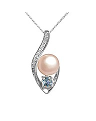 Silver Pearl and Blue Topaz Pendant