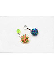 Two Piece Spikey Neon Rubber Navel Bars