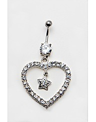 Large Heart and Star Navel Bar