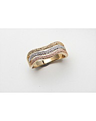 Gold Plated Three Tone Glitter Ring