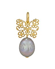 Gold Plated Silver and  Pearl Charm