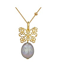 Gold Plated Silver and  Pearl Pendant