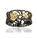 Gold/Rhodium Plate Silver & Diamond Ring