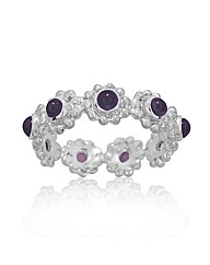 Rhodium Plated Silver and Amethyst Ring