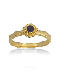 Gold Plated Silver and Amethyst Ring