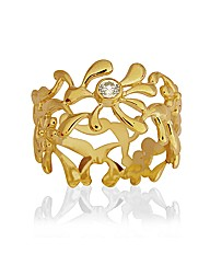 Gold Plated Silver & Cubic Zirconia Ring