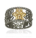 Gold/Black Rhodium Plated Silver Ring