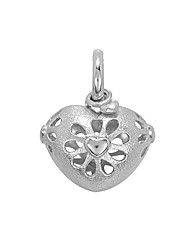 Rhodium Plated Sterling Silver Charm
