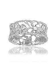 Rhodium Plated Silver and Diamond Ring