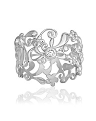 Rhodium Silver & Cubic Zirconia Ring