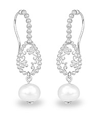 Rhodium Plated Silver and Pearl Earrings