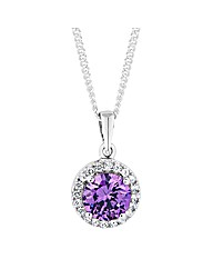 Simply Silver Purple Halo Pendant