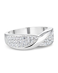 Simply Silver Pave Crystal Twist Ring