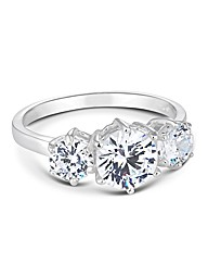Simply Silver Triple Cubic Zirconia Ring