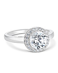 Simply Silver Cubic Zirconia Halo Ring