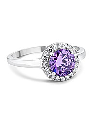 Simply Silver Purple Halo Ring