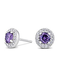 Simply Silver Purple Halo Earring