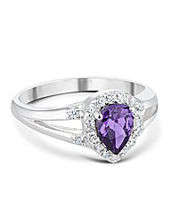 Simply Silver Purple Teardrop Ring
