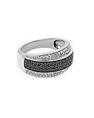 9ct Gold Black and White Diamond Ring