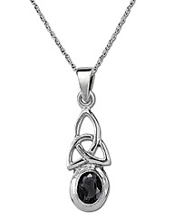 Sterling Silver 0.01Ct Onyx Pendant