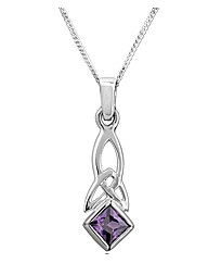 Sterling Silver 0.01Ct Amethyst Pendant