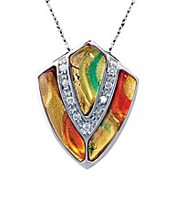 Silver Murano and Crystal Shield Pendant