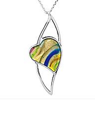Silver Murano Glass Fancy Heart Pendant