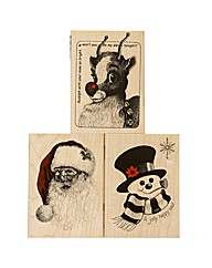 Set of 3 Wooden Stamps - Santa Rudolph F