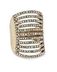 Mood Diamante Multirow Stretch Ring