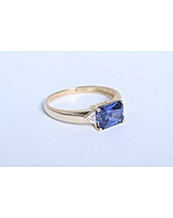 9ct Yellow Gold Blue Sapphire Dia Ring