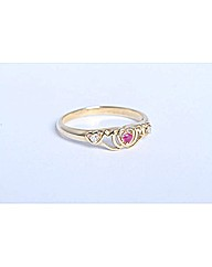 9ct Yellow Gold Ruby Claddagh Ring