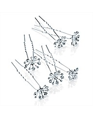 6pc Silver Crystal Hair Pin