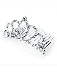 Silver Coloured Clear Glass Stone Comb