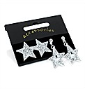 2 Pairs Silver Coloured Star Earrings