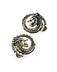 Gold Coloured Dragon Stud Earrings
